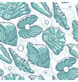 seamless pattern sea shells and pearls vector image