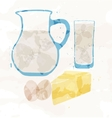 set dairy products from multi-colored spots vector image vector image