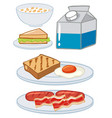 set of breakfast with egg and milk vector image vector image