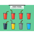 Set of fast food cups different colors in flat vector image vector image