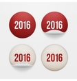 Set of realistic New Year white circle Stickers vector image vector image