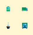 set of vehicle icons flat style symbols with ship vector image