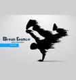 silhouette a break dancer vector image vector image