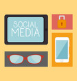 social media set icons vector image