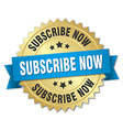 subscribe now 3d gold badge with blue ribbon vector image vector image