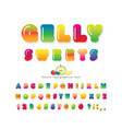 sweet 3d gelly font cute cartoon letters and vector image