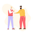 two guys talking drinking coffee and smiling vector image