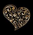 vintage gold ornamental love heart pattern hand vector image vector image