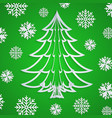 white paper christmas tree on the green vector image vector image