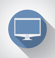 Widescreen monitor flat icon with long shadow vector image vector image