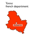 Yonne french department map vector image vector image