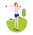 a young girl hit the golf ball in golf course vector image