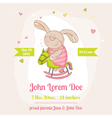 baby bunny on a horse - shower card vector image vector image