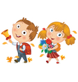 Back to school Schoolboy and schoolgirl go to vector image vector image