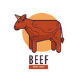 beef fresh meat promotional emblem with adult cow vector image vector image