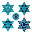 blue and gold jewish star icons vector image