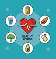 blue poster of healthy lifestyle with heart pulse vector image
