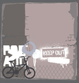 BMX bike on the wall vector image vector image