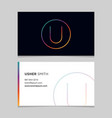 business-card-letter-u vector image vector image