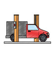 car with assembling machine vector image