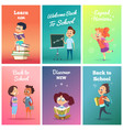 cards with pupils design template of cards with vector image vector image