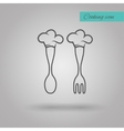 Chef Hat on spoon and fork vector image vector image