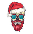 color handdrawn angry skull of santa claus vector image