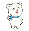 comic cartoon cute polar bear cub vector image vector image