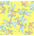 cute seamless pattern with dragonflies hand drawn vector image