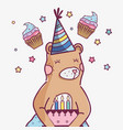 cute wild bear with a delicious cake vector image vector image