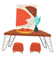 dining room or kitchen interior table with food vector image