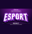 esport gaming in purple theme color text effect vector image vector image