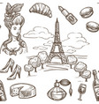 france sketch seamless pattern background vector image