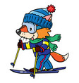 funny fox rides on skis vector image