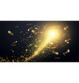 golden particles wave sparkle stardust vector image