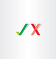 green red check mark yes no icon vector image