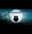 halloween banner with owl and tree against moon vector image vector image