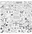 Hand drawn sketch icons for businessinternet and vector image vector image