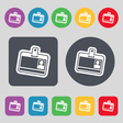 Id card icon sign A set of 12 colored buttons Flat vector image vector image