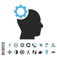 Intellect Gear Flat Icon With Bonus vector image