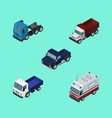 isometric transport set of first-aid lorry truck vector image vector image
