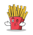 kissing face french fries cartoon character vector image vector image