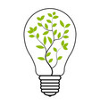 light bulb tree plant inside light bulb vector image
