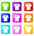 men polo shirt icons 9 set vector image vector image