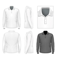 Mens long sleeve polo-shirt design template