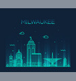 milwaukee skyline wisconsin usa linear city vector image vector image