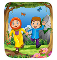 Muslim couple holding hands in the forest vector image vector image
