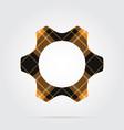 orange black tartan isolated icon - cogwheel vector image