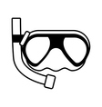 outline diving mask tube sea beach vector image vector image