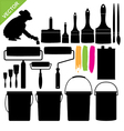 Paint bucket and brush silhouette vector image vector image